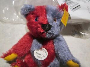 STEIFF HARLEQUIN Red and Blue Teddy Bear 027437 - Genuine Mohair NWT
