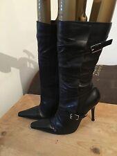 River Island Womens Black Leather Pointed Toe Stiletto Mid Calf Boots UK 5 EU 38