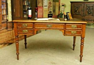 antiker Jugendstill Schreibtisch - frei stellbar - Vintage - Leder neu -19.Jh.