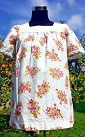 Floral Tunic Top MOD Beatnik 1960s Twiggy Lace White Vintage Dress 10 12 38 40