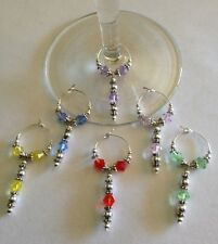 wine glass charms set of 6 beautiful drop beads