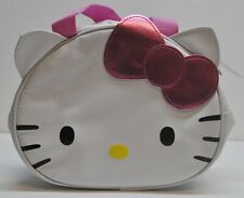 New Hello Kitty Insulated WH Canvas School Lunch Bag/ Box Face Shape Pink Bow
