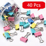 40Pcs Office Foldback Binder Clips Paper Document Bulldog Metal Grip KN