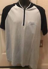 Native Code Polo Zip Shirt, Lrg-Men, Baby Blue / Navy, MSRP $32