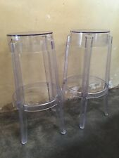 2 X Philippe Starck Replica Charles Ghost Bar Stool - 75cm - Clear