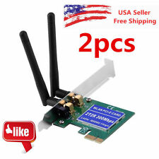 2X 300M Wireless N PCI Card WiFi Network Lan 2 Antenna Cordless Ethernet Adapter