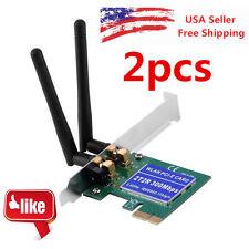 2X 300M Wireless N PCI Card WiFi Network Lan 2 Antenna Cordless Ethernet Adapter