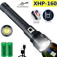 16-Core XHP160 LED Flashlight 380000LM Bright Zoom Torch Outdoor Spotlight USB