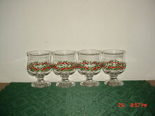 """4-PC HOLIDAY """"HOLLY & BERRIES"""" DESSERT-GOBLETS 4 1/2"""" GLASSES/RED-GRN/FREE SHIP!"""