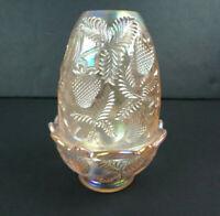 Fenton Carnival Iridescent Pink Ice Glass Strawberry Pattern Fairy Lamp