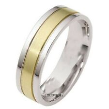 MENS 10K TWO TONE GOLD WEDDING BANDS RINGS SATIN FINISH 6MM