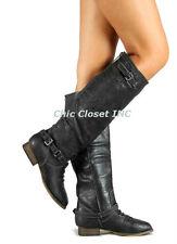 NEW Women Riding Cowboy Western Equestrian Color Zipper Knee High Flat Boots