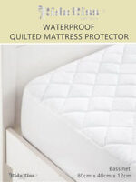 3 Sets Kidz Kiss Bamboo Waterproof Quilted Fitted Mattress Protector Bassinet