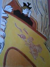 dessin à l'encre et pastels la loge d'après toulouse lautrec