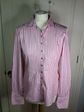 TM Lewin womens shirt Size 12 fully fitted white & pink stripe french cuff