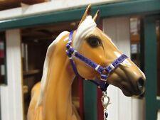 Jaapi Purple/black checkered halter w/lead, fits Breyer Traditional model horses