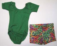 New Girls Leotard Shorts Set Size 4-6 XS SC Dance Gymnastics Short Sleeve Lot