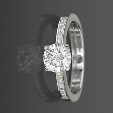 DIAMOND SOLITAIRE ACCENTED RING VVS1 D LADY 14K WHITE GOLD COLORLESS NEW 1 CT
