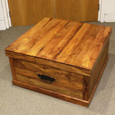 Large Brown Wooden Coffee Table With Storage Area - Good Condition