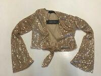 MOTEL ROCKS  Yuni Top in Gold Drape Sequin  (MR113)