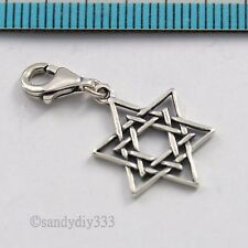 1x STERLING SILVER MAGIC STAR OF DAVID EUROPEAN LOBSTER CLIP ON CHARM #2833