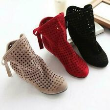 Womens Cut Outs Spring Or Summer  Ankle Boots Flat Shoes Increase Hollow Out NEW