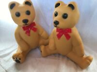 PAIR Of Blow Mold Christmas Bears Brown Red Bows Lighted Union Products