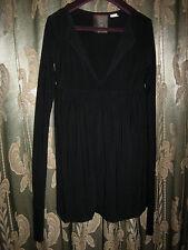 Norma Kamali Everlast V-Neck Empire, Black, Long Sleeve Dress, Sz Small