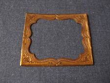ANTIQUE VICTORIAN EMBOSSED GOLDEN MINIATURE MAT & GLASS FOR PICTURE FRAME MARKED