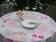 Tablecloth Provence 160 CM Round Cream Rosenmotive from France Easy-Care