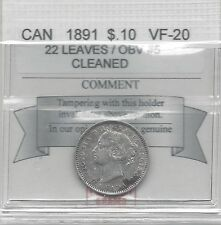**1891 Obv.#5 22 Lvs**, Coin Mart  Graded Canadian,  10  Cent, **VF-20**Cleaned