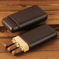 CIGARISM Genuine Leather Spanish Cedar Lined Cigar Travel Holder Case 3 Tubes