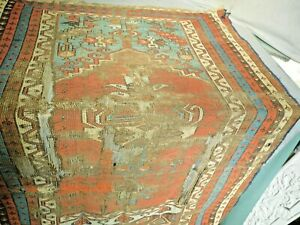 Shreds Antique Oriental Rug Fragment Vegetal Dye Turkish Tribal Anatolian Prayer