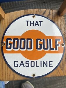 VINTAGE GULF PORCELAIN SIGN GAS MOTOR SERVICE STATION PUMP PLATE OIL RARE AD