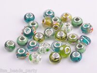 20pcs 15x9mm Lampwork Glass Murano European Charm Big Hole Loose Beads Green Mix