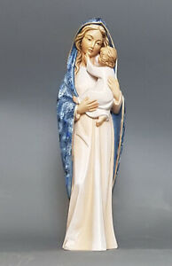 Our Lady With Child Modern- Wood Statue - Blue Colour