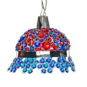 11.8 Inch High Jeweled Bonnet Hanging Lamp