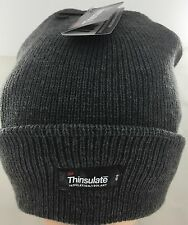 3M Thinsulate Acrylic Beanie Charcoal Rib Knit Thermal Insulated Warm Winter Ski