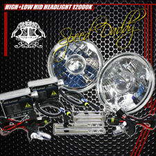 "7"" H6017 CLEAR CHROME ROUND DIAMOND CONVERSION PROJECTOR HEADLIGHT+H4 12000K HID"