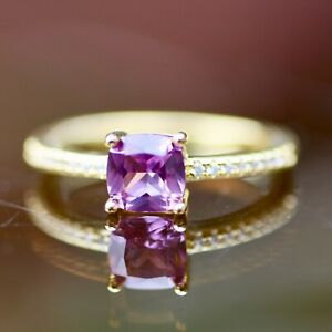 Simple Lab Made Alexandrite Engagement Ring Yellow Gold Vermeil June Birthstone