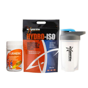 Hydro-Iso Whey Protein Isolate 3kg & 1 x Turmeric 150 Tabs & Free Shaker