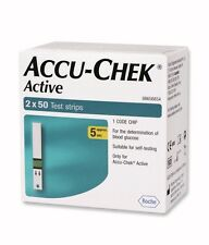 100 Test Strips for Glucometer Blood Glucose Accu-Chek Active - Expiry MAR 2018