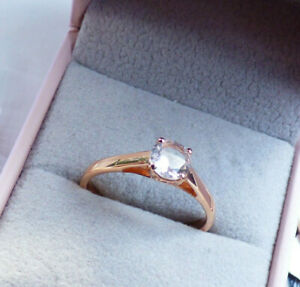 Zircon Solitaire Rose Silver Ring