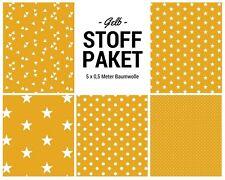 Stoffpaket gelb 5x (0,5 x 1,50m) Patchworkpaket Baumwolle Nähpaket DIY Stoffe
