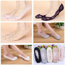 Comfortable Women Cotton Lace Antiskid Invisible Liner Peds Footsies Socks HC