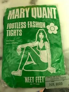 VINTAGE MARY QUANT 2 PAIRS OF FOOTLESS TIGHTS, NAVY SEXY ORIGANAL 1960s UNOPENED