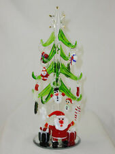 """HANDCRAFTED SANTA'S GREEN GLASS XMAS TREE W/12 REMOVABLE ORNAMENTS - 8"""" TALL"""