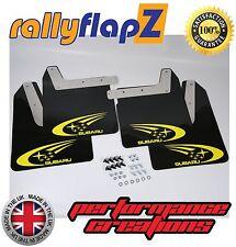 Mudflaps SUBARU IMPREZA New Age (01-07)rallyflapZ 4mm PVC Black Swoosh in Yellow