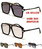 Flat Lens Oversized Square Women/'s Men/'s Semi-Mirrored Sunglasses 100/%UV400 wf38