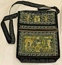 Peru Black Embroidered Green Tan Messenger Shoulder Bag Velcro Flap Zip Pocket
